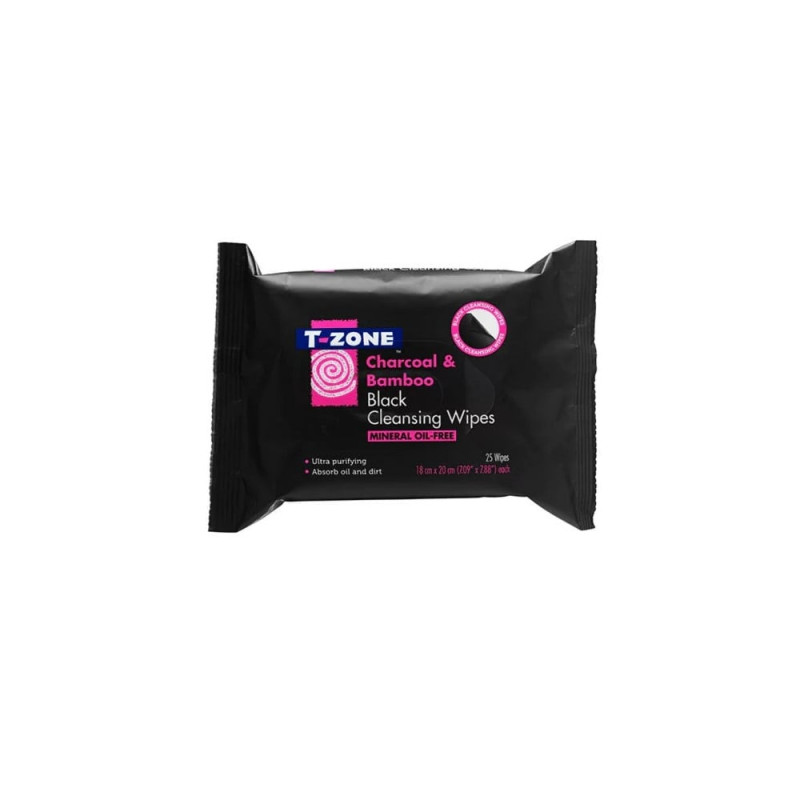 T-Zone Charcoal & Bamboo Black Cleansing Wipes